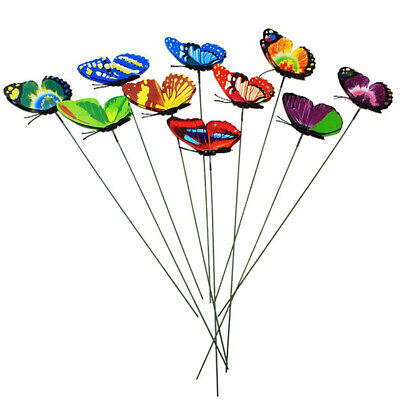 10/30Pcs Butterflies Stakes Colorful Ornaments Garden Patio On Sticks Home Decor • 4.39£