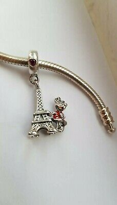 Disney Minnie Mouse Effiel Tower Charm Silver S925 New Free Gift Wrapping  • 10£
