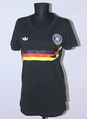 Retro Germany National Football Womens Team Cotton Shirt Adidas Size L • 9.99£