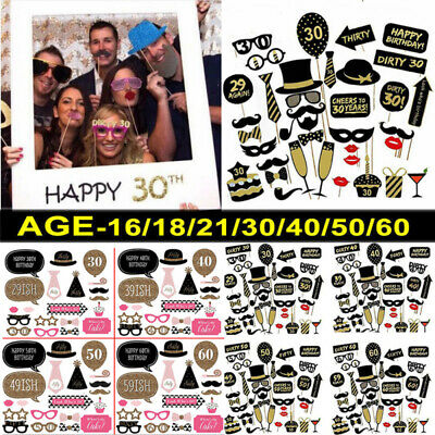 £3.39 • Buy Happy Birthday Party Photo Booth Props Party Decor Selfie 16/18/21/30/40/50/60th