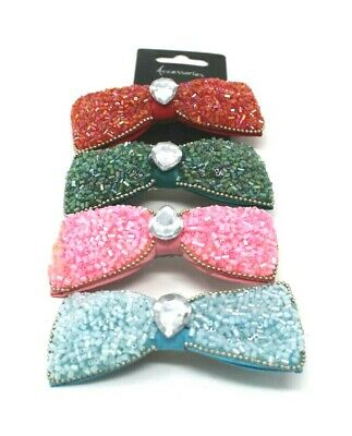 £3 • Buy Choice 4  Colours SPARKLY BEADED HAIR CLIPS SLIDES BARRETTES NEW