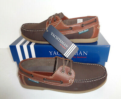 Mens Yachtsman Leather Casual Lace Up Shoes Comfort Boat Deck Trainers Size 7-12 • 29.48£