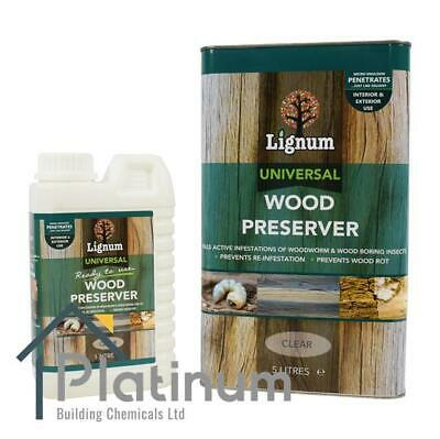 LIGNUM Universal Wood Preserver CLEAR   Woodworm, Dry & Wet Rot Timber Treatment • 14.50£