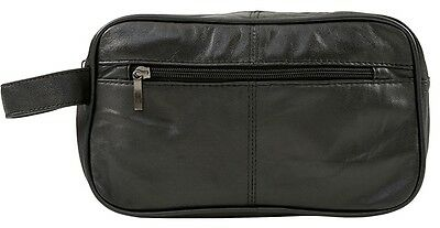 Mens Large Soft Black Leather Toiletry Wash Bag Travel Toiletries Double- 5214 • 7£