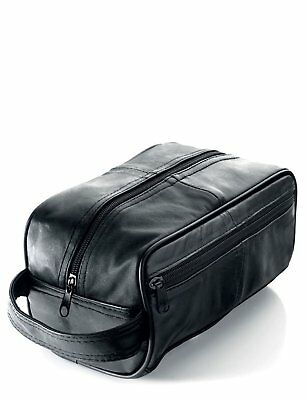 New Mens Soft Leather Toiletry Travel Wash Bag Travel Kit Overnight Gift 3083 • 30.90£