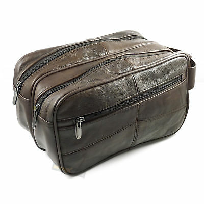 Large LEATHER WASH BAG Zipped Sections Cowhide Toiletries Toiletry Travel 3754 • 22.50£