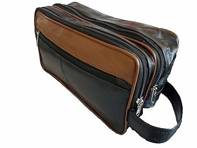 Leather 2 Tone Toiletry Wash Bag For Toiletries - Holiday Travel Washbag 20016 • 8.90£