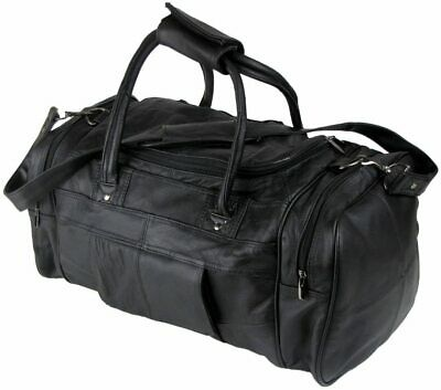 Unisex Genuine Luxury Soft Leather Travel/ Weekend Bag With Padded 3729 BLACK • 42.50£