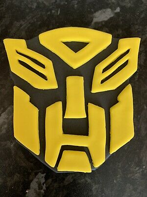 Transformers Edible Face Plaque Cake Topper 4inch Hand Made Icing Yellow Bumble • 4£