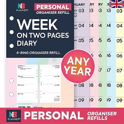 2021 Filofax Personal COMPATIBLE Week On Two Pages Diary Organiser Refill Insert • 5.98£