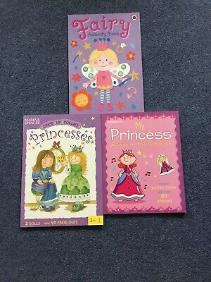 Princess And Fairy Activity Books - Dress Up Dolls And Sticker Books • 9£