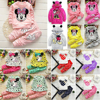 AU20.89 • Buy Kids Baby Girls Tracksuit Minnie Mouse Sweatshirt Tops+Pants Set Outfit Clothes