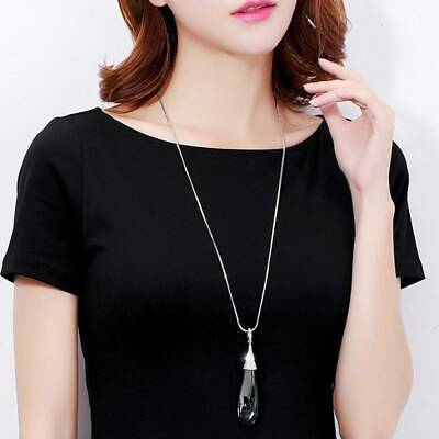 AU6.76 • Buy Long Crystal Necklaces For Women Water Drop Pendants Chain Fashion Jewelry SW