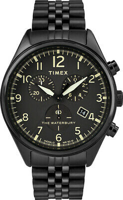 $66 • Buy Timex Waterbury Black Chronoghraph Indigo Watch TW2R88600