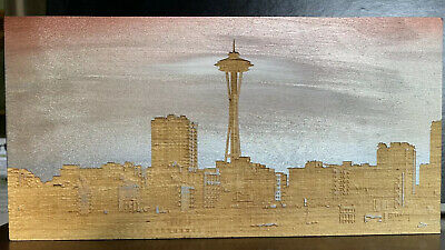 Seattle Skyline Laser Etched Wood Painted Art From Pike Place Market • 54.06£