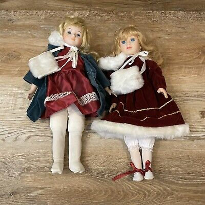 $ CDN30.44 • Buy LOT Two Vintage Porcelain Dolls 16  Female Long Blonde Hair