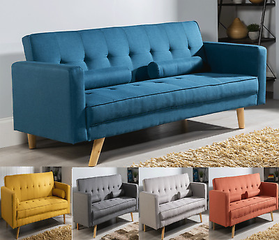 £199.99 • Buy Modern Sofa Bed Brand New Fabric 3 Seater Padded Sofabed Suite With 2 Cushions