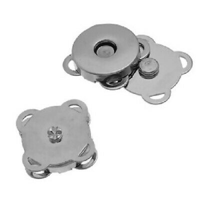 Magnetic Snap Clasps For Handbag, Purse Etc, 19mm X 19mm, Silver Tone • 1.79£