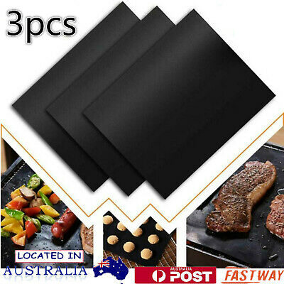 AU12.34 • Buy 3pcs Non-stick Reusable BBQ Grill Mats Sheet Baking Mat Cooking BBQ Pad AU