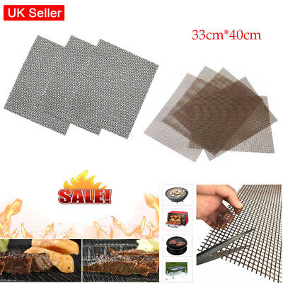 £10.92 • Buy 5/10X Reusable BBQ Grill Mesh Non-Stick Cooking Barbecue Sheet Resistant Pads