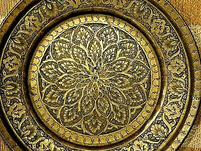 £39.84 • Buy Asian Indian Antique Hand Made Hand Ingraving Brass Plate Tray