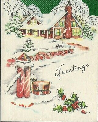 $ CDN1 • Buy Vintage Mid- Century Christmas Card- Winter Cottage With Frozen Water Pump