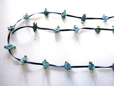 Blue Satin Ribbon Flower Braid Garland String Wedding Cardmaking Dressmaking • 1.70£