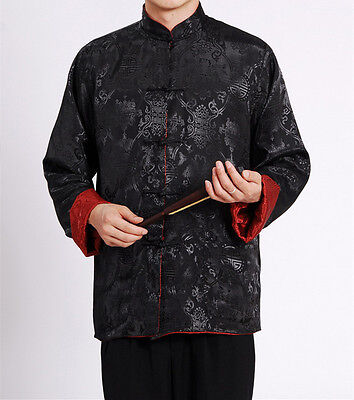 Mens Retro Sided Chinese Oriental Double  Kung Fu Satin Dragon Top Long Shirt • 32.76£