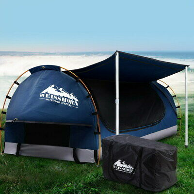 AU271.95 • Buy Camping Swags Canvas Double Tent With Mattress Free Standing Dome Dark Blue Swag