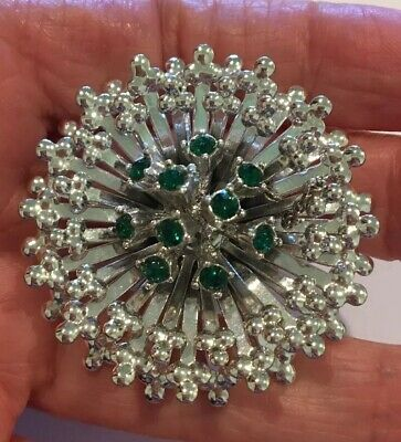 $12 • Buy Fab! Vintage Emmons Layered Silver Tone Brooch Green Rhinestones Great Condition