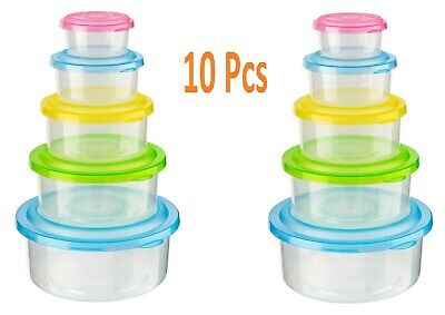 10pc Stackable Nestable Food Storage Containers With Colour Lids Tupperware Box • 10.99£