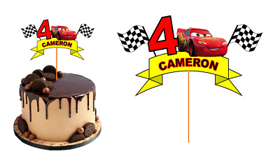 LIGHTNING McQUEEN CARS CAKE TOPPER PERSONALISED NAME GLOSSY CARDSTOCK DECORATION • 7.76£