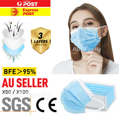 AU15.85 • Buy 10-100x Face Mask 3 Layer Daily Protective Anti Bacterial Filter Mouth Masks AUS