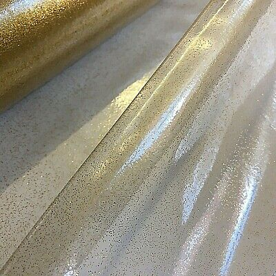 Gold Speckled Clear PVC Transparent Vinyl Film Fabric For Oilcloth Craft Bag • 2.50£