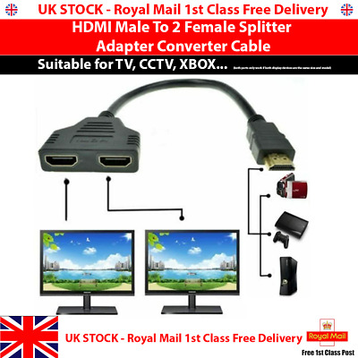 NEW HDMI Male To 2 Female Splitter Adapter Converter Cable 1 Input 2 Output - UK • 3.99£