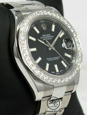 $ CDN12615.55 • Buy Rolex Datejust II 116300 3.25 CT Diamonds Bezel Black Dial Steel Watch Mint
