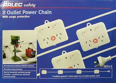 AU102.90 • Buy 8 Outlet Power Chain DIY Power Points 4 X Doubles Pre-Wired Arlec