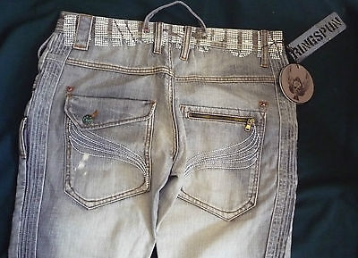 New Grey Designer  Jeans By Ringspun 34  Waist X 33  Leg Stud Button Fly Bnwt • 22.72£