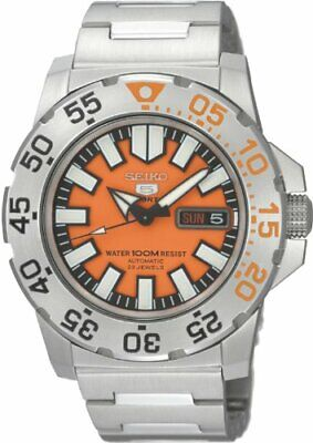$ CDN311 • Buy Seiko 5 Men's SNZF49  Automatic Divers Orange Dial Watch 100M Stainless Steel