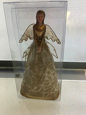GISELA GRAHAM GOLD CHRISTMAS TREE TOPPER ANGEL FAIRY - 18cm - 831 • 10.99£