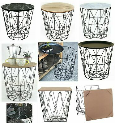 £19.95 • Buy Retro Side Table Baskets Marble Wood Top Storage Basket Tables Home Furniture