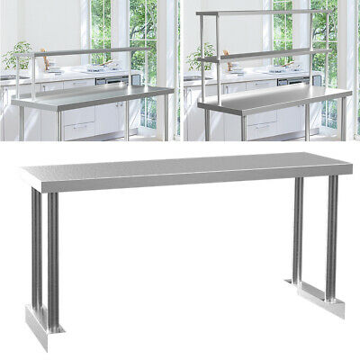 Catering Food Prep Table Over Shelf Stainless Steel Top Shelf Commercial Kitchen • 65.95£