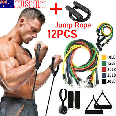 AU15.99 • Buy 12X Resistance Bands Workout Exercise GYM Yoga Fitness Training Tubes Jump Rope