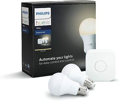 AU108 • Buy Philips Hue Starter Kit - 1 Hue Bridge And 2 X E27 Warm White Smart ZigBee Bulbs