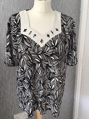 £7.50 • Buy Forever By Michael Gold Size XXL Black/white Short Sleeved Crinkle Top Immaculat
