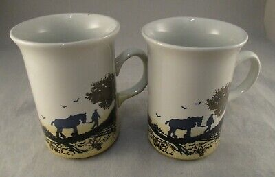 Vintage Churchill Ceramic Mugs - Heavy Horses Ploughing Farming  Made In England • 12£