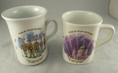 Vintage Ceramic Mugs 50th Anniversary Of D Day - Made In England • 15£
