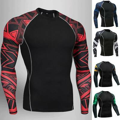 Mens Compression Base Layer Long Sleeve Top Sports Gym Running Thermal Fitness • 12.68£