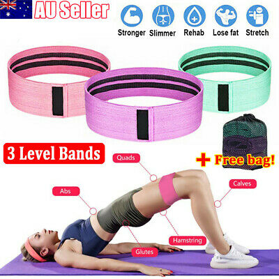 AU17.89 • Buy 3PC/SET Resistance Bands Booty Fabric Glutes Hip Circle Legs Squat Yoga Non Slip