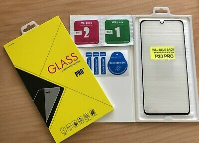 For Huawei P30 PRO Tempered Glass Screen Protector FULL GLUE BACK BLACK TRIM • 5.59£